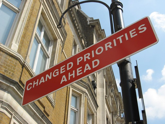 Changed Priorities Ahead sign from Flickr via Wylio