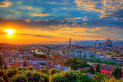 Sunset over Florence at Piazza Michelangelo