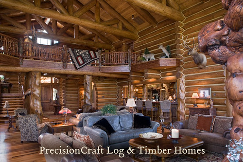 Custom Handcrafted Log Home Design Expansive Great Room By