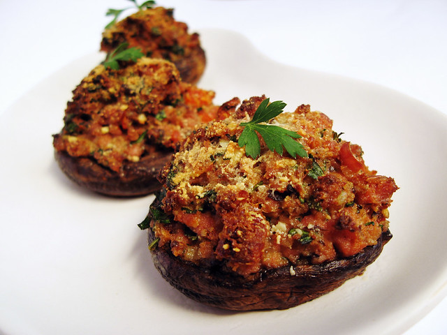 Portobello Mushrooms Stuffed with Sausage