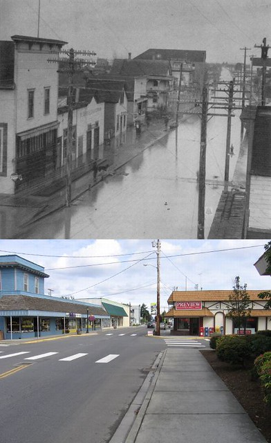 Stanwood Washington Then And Now Looking North On