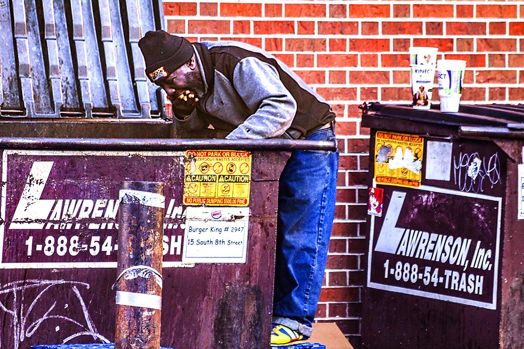 Man Eating Out of Dumpster, Center City, Philadelphia