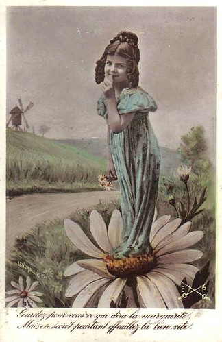 Vintage Postcard ~ Flower Girl
