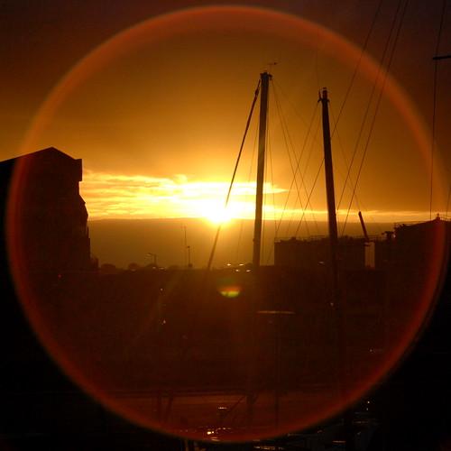 galway docks sunrise lens flare squaredcircle