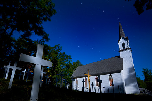 longexposure moon halloween church cemetery night america dark scary midwest shadows darkness cross michigan fear crosses eerie steeple lakemichigan greatlakes fullmoon michiganfavorites moonlit midnight americana moonlight nightmare bigdipper midwestern startrail northernmichigan thegreatlakes goodhart midwesterncity ruraldarkness excapture midwesternlandscape goodhartmichigan