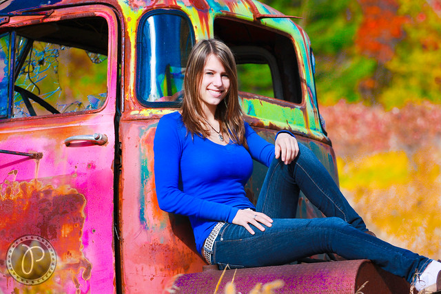Senior Picture on GMC Old Diesel Truck..Fun Colors