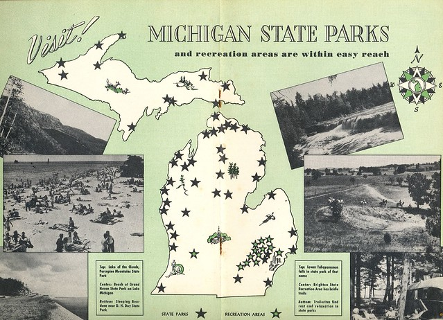 1950 39 s vintage michigan state park map explore upnorth for State farm fishing guy