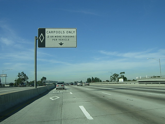 Driving on the Northbound Freeway 405 in Los Angeles County, CA