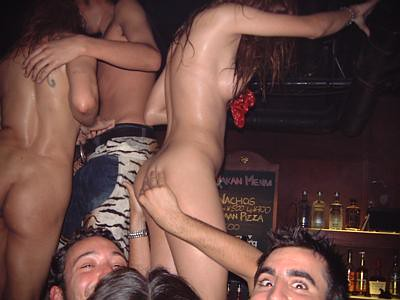 Girls naked at a bar advise you