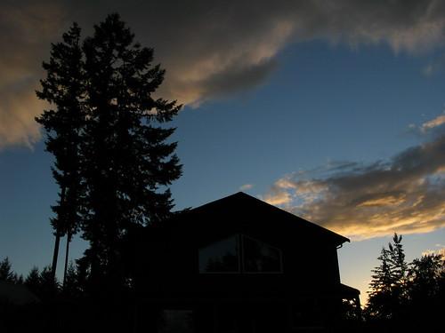 sunset house tree silhouette
