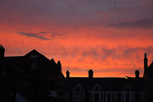 Roath rooftops, chimney pots and sunset