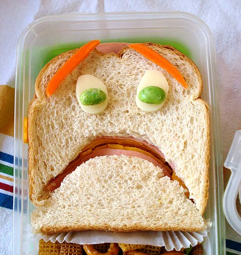 terrified sandwich closeup