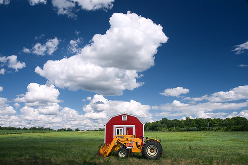 blue red sky tractor field grass clouds barn rural landscape countryside midwest forsale michigan farm country shed bigsky eastlansing roadside redbarn farmequipment outbuilding frontloader polarizingfilter littlefluffyclouds johnbaird canonefs1755mmf28isusm ishootpretty