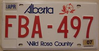 ALBERTA 2007 auto license plate