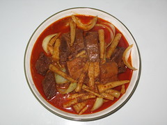 vegetable, meat, asam pedas, food, dish, cuisine,
