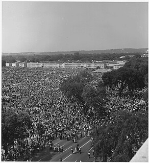 Civil Rights March on Washington, D.C. [Aerial view of the crowd of marchers on the mall and street.], 08/28/1963.