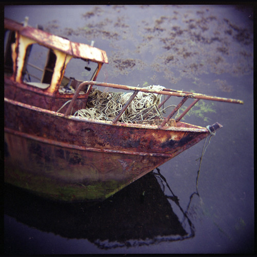 rusting fishing boat and ropes, Cuan, Isle of Seil, By Oban, Argyll, Scotland