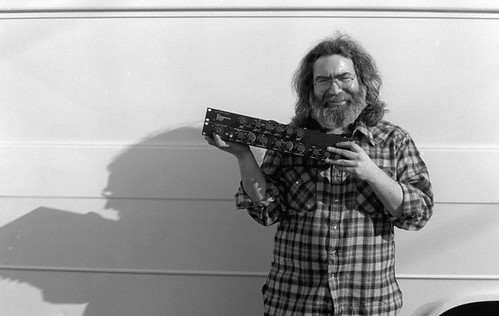 Jerry Garcia models for a Furman Sound ad