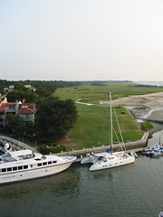 looking down the 18th hole of the Harbor Town Golf Course