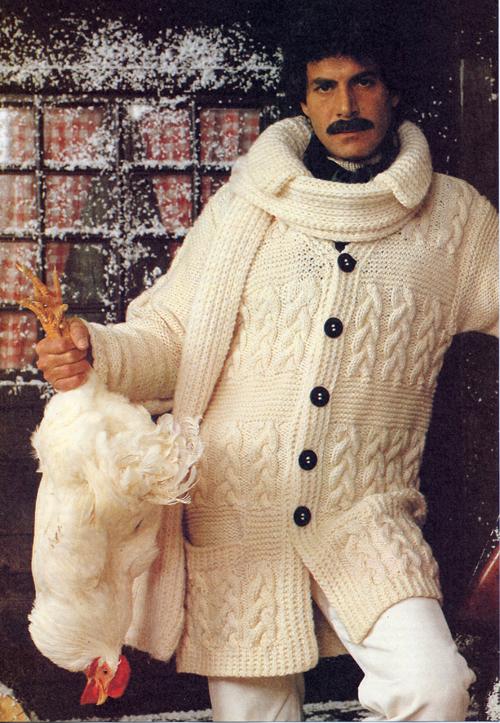 knitting 70s moustache male aran