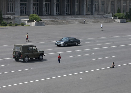 Kids having fun in the middle of the road - Pyongyang North korea