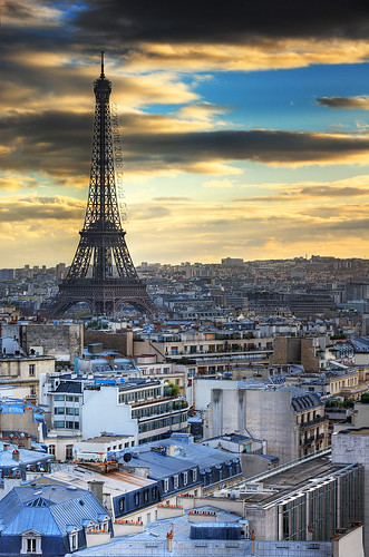 Eiffel Tower and Paris Roofs at sunset | davidgiralphoto.com by David Giral | davidgiralphoto.com