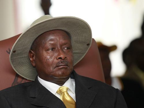 President Museveni listen attentively to EC Badru speech during nomination