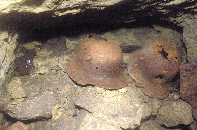 German helmets found with 90 meters under ground in Vauquois (Meuse) France Casques allemands trouvés à 90 mètres sous terre à Vauquois (Meuse) France