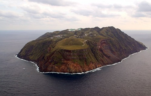 View of Aogashima from helicopter