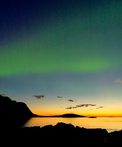 Aurora Borealis, just after sunset