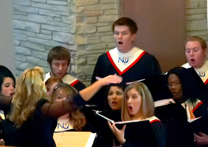 Newman University students singing
