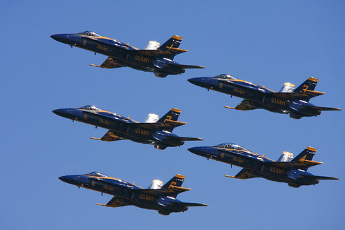 The Blue Angels in close formation over Pensacola