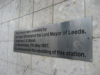 Plaque on Leeds City Station