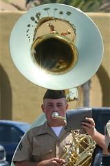 tuba(0.0), trumpet(0.0), trombone(0.0), saxophone(0.0), sousaphone(1.0), horn(1.0), brass instrument(1.0), wind instrument(1.0),