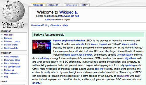 Search Engine Optimization  Seo  Article Featured On Wikipedia Home Page