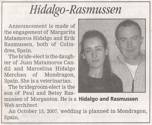 Wedding announcement in newspaper american in spain for Wedding announcement ideas for newspaper