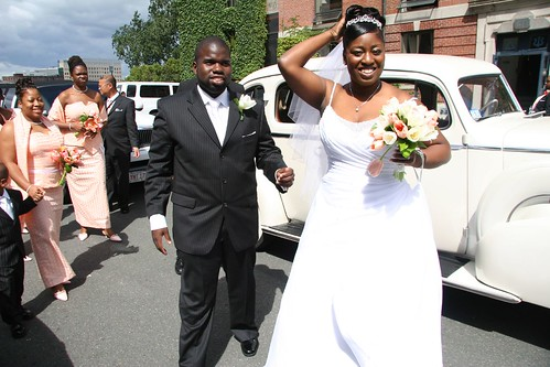 African American Just married bride and groom