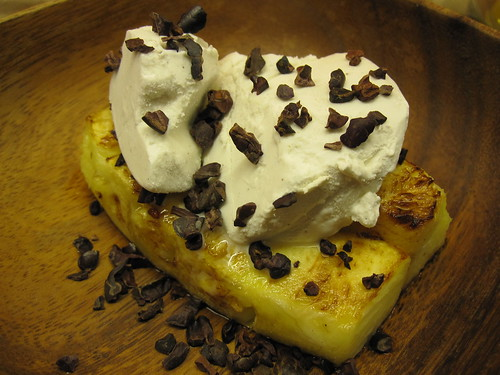Grilled Pineapple, Coconut Ice Cream, Cacao Nibs
