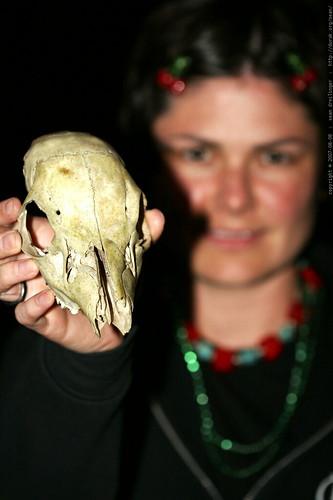rachel wearing mardi gras beads, cherry barrettes, a tibetan wedding necklace, and holding a deer skull    MG 2970