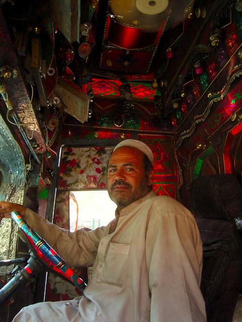 Pakistanis Driver Inside His Beautiful Truck