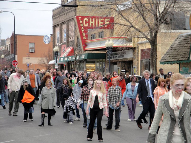 zombie mob in downtown bemidji for lazarus shoot flickr