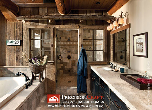 Handcrafted Log Home Bathroom