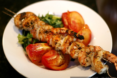 grilled shrimp over heirloom tomatoes    MG 1352