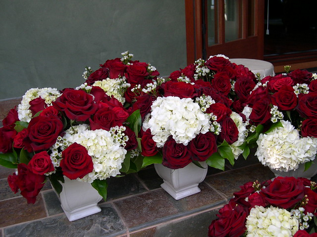 Red roses hydrangea centerpieces flickr photo sharing