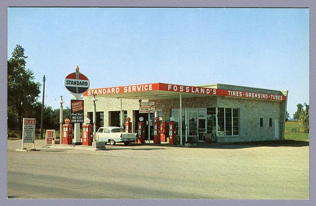 Fossland's Standard Gas Station, 1956