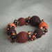Bracelet with Hand Felted Beads in Orange and Brown - Warmth - by <vaida>