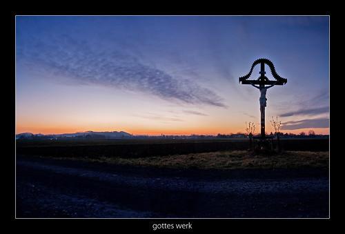sunset cross path fields styria