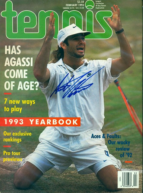 February 1993, Autographed Tennis Magazine by Andre Agassi