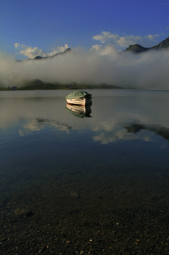 morning sky mountain lake alps nature water clouds sunrise landscape switzerland boat melchseefrutt melchsee