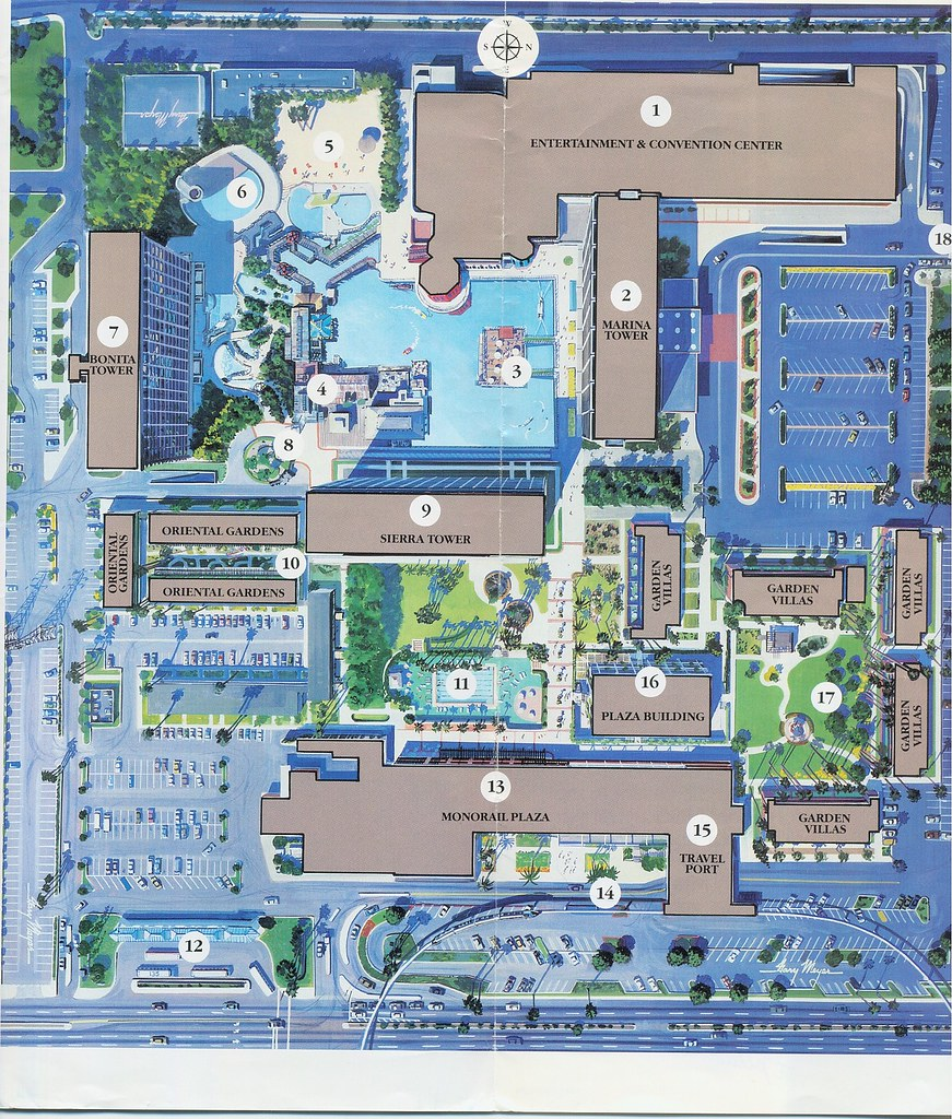 Map of the Disneyland Hotel circa 1988